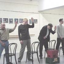 Toilets scene in rehearsal