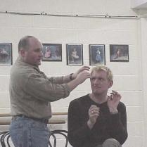 Hairdressers scene in rehearsal